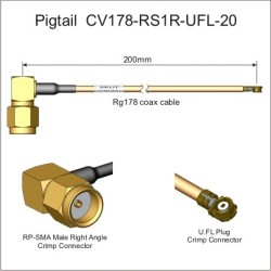 Codino RP-SMA maschio 90° + 20cm cavo RG178 + U.FL