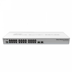 Cloud Router Switch with 800 MHz CPU, 512MB RAM, 24xGigabit LAN, 2xSFP+ cages, RouterOS L5 orSwitchOS (dual boot), 1U r