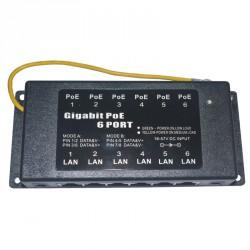 PoE Injector Gigabit 6 port metal case