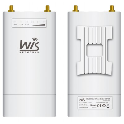 Wisnetworks 5GHz,2*2 MIMO, Weatherproof ABS Plastic, 500mw, WiD TDMA, Two RP-SMAconnectors 1*1000M Gigabit Ethernet ,24