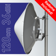 SPR4965-D12G36+R Solid Dish antenna  with radome 4.9-6.5GHz 120cm 36dBi