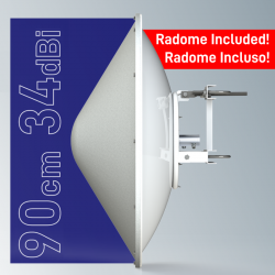 SPR4965-D9G34 Solid Dish antenna  with radome 4.9-6.5GHz 90cm 34dBi